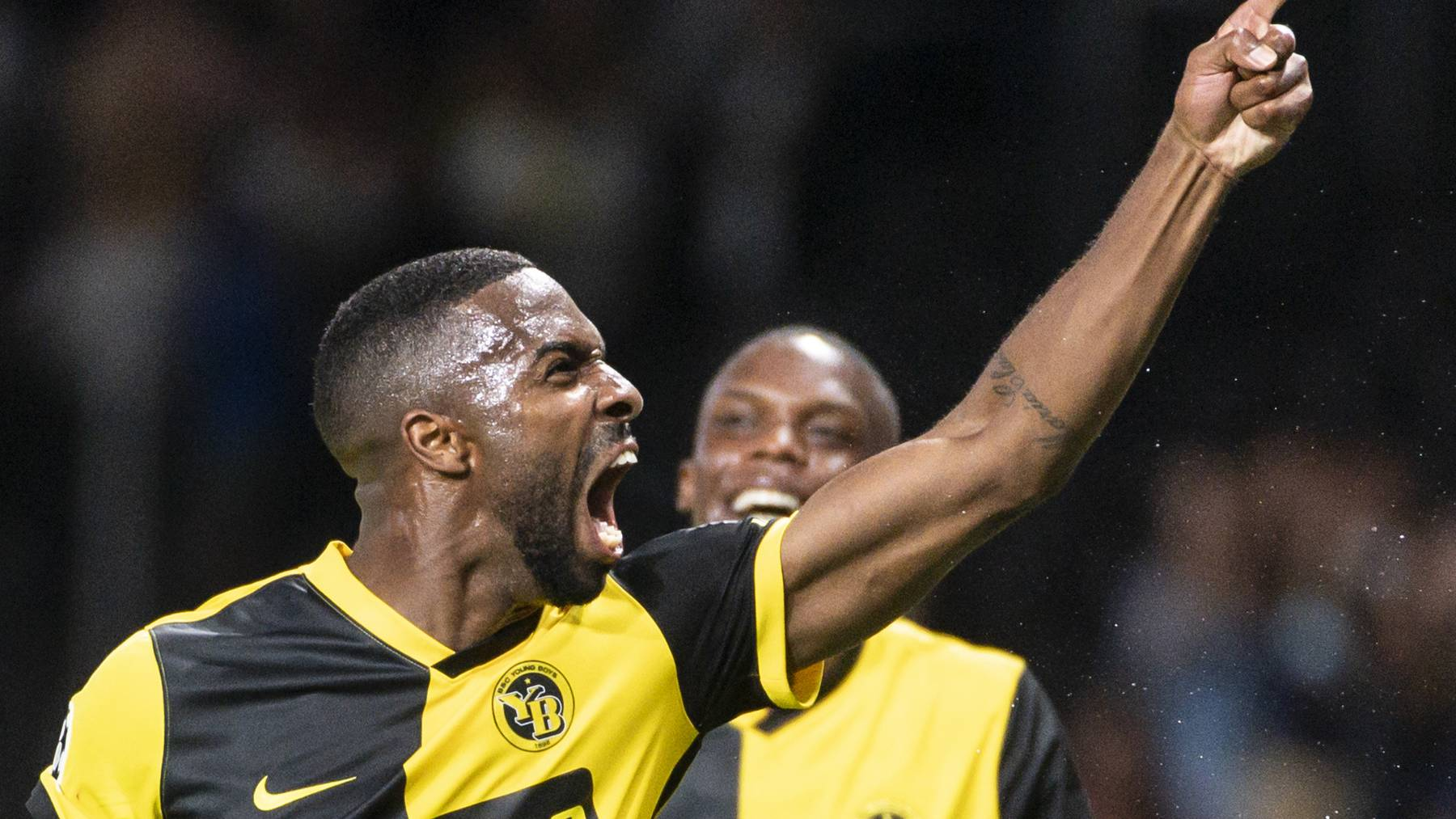 Young Boys' Ulisses Garcia celebrates after scoring to 3:1 during the UEFA Champions League Play-off first leg soccer match between BSC Young Boys and Ferencvaros TC, on Wednesday, August 18, 2021 at the Wankdorf stadium in Bern, Switzerland.