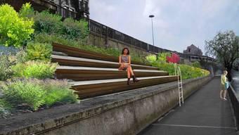 Eine Treppe oberhalb des Ländiwegs, wie hier auf der Fotomontage, ist ein Vorschlag der Grundlagenstudie Aareraum Olten, um die Verbindung provisorisch aufzuwerten.