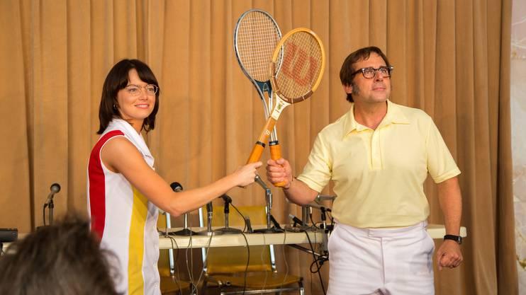 Emma Stone und Steve Carell am Set von «Battle of the Sexes».