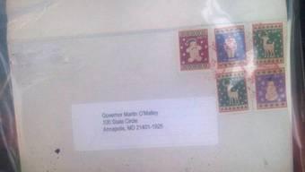 Das an Gouverneur O'Malley adressierte Päckchen