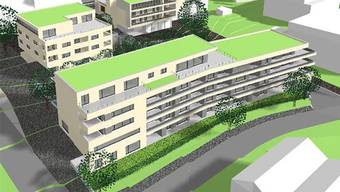 So soll der «Landi-Park» aussehen: Im Vordergrund der Neubau «Riegel», hinten rechts das sanierte Volg-Gebäude mit den zwei neuen Dachwohnungen.
