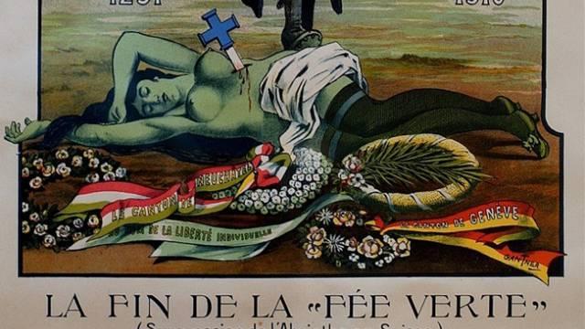 Ein Plakat von 1910 zum Absinth-Verbot. Foto: Sandro Campardo - Keystone