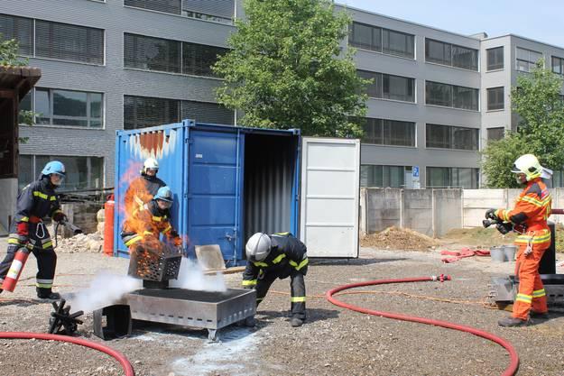 Die Feuerwehrleute in Aktion.