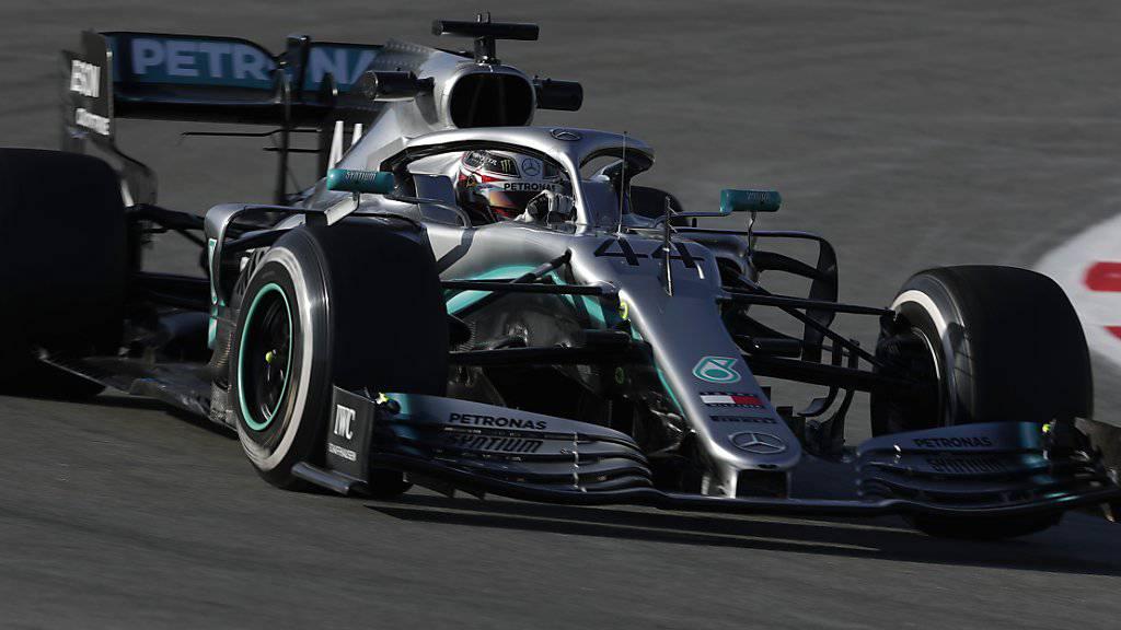 Lewis Hamilton Mitte Februar bei Testfahrten in Montmelo