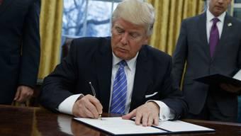 Donald Trump unterzeichnet wieder einmal etwas. Aber was?