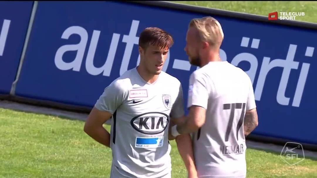 Challenge League, 2019/20, 1. Runde, FC Winterthur - FC Aarau, 7. Minute: Schuss von Gjelbrim Taipi.