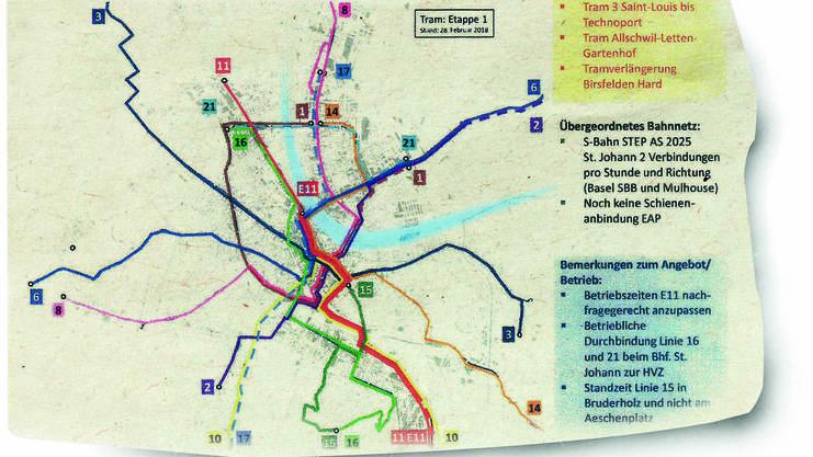 Ausriss aus dem Tramplan für Basel 2025.