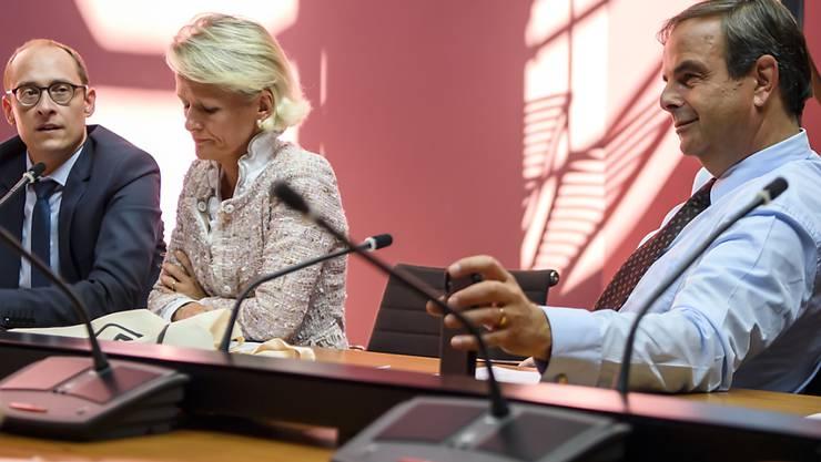 Die Internet-Kampagne ist sachlich und fair: CVP-Präsident Gerhard Pfister, Nationalrätin Andrea Gmür und Nationalrat Martin Candinas vor den Medien in Bern (von rechts nach links).