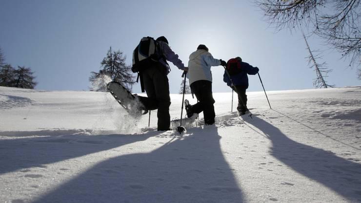 Schneeschuhwanderer im Einsatz. Für Hin- und Rückreise steht ihnen in sechs Regionen künftig ein Bus zur Verfügung. (Archivbild)