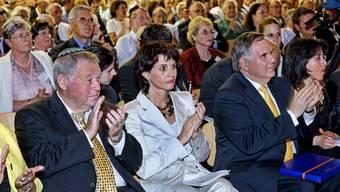 Prominenz: (v.l.) Jules Bloch, Präsident der Israelitischen Kultusgemeinde Endingen, Bundesrätin Doris Leuthard, SIG-Präsident Herbert Winter.