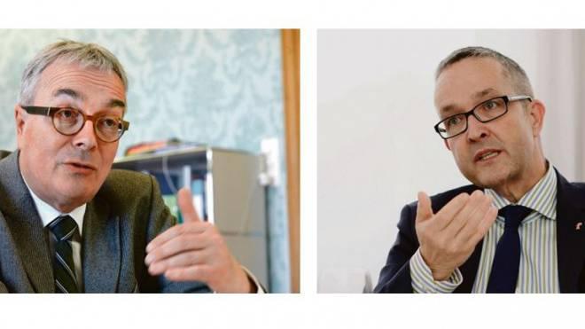 Offensiv: der Basler Brutschin (links). Defensiv: der Baselbieter Weber. Foto: Nicole Nars-Zimmer/Kenneth Nars