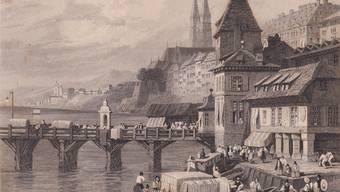 Englischer Stich von 1836: Das Rheintor stand ab dem 13. Jahrhundert an der Schifflände und wurde 1839 abgerissen.