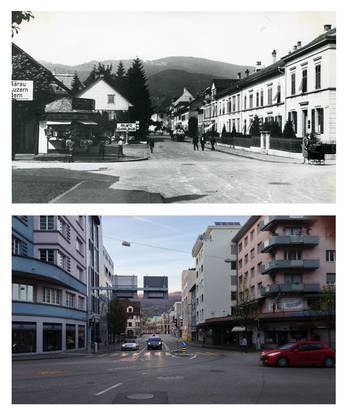 Blick von der City-Kreuzung aus Richtung Trimbacherstrasse (oben), die heutige Baslerstrasse (unten).