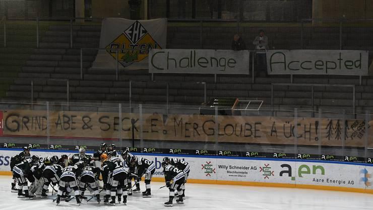 Der EHC Olten beim letzten Spiel der Saison Ende Februar im Stadion Kleinholz.