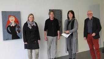 Katrin Schröder-Meiburg, Daniel Waldner, Christiane Puppel und Rudolf Lüscher (v.l.) freuen sich auf die Ausstellung «Frida im Fluss».