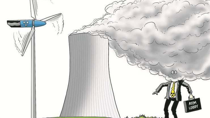 Karikatur zur Atom-Lobby