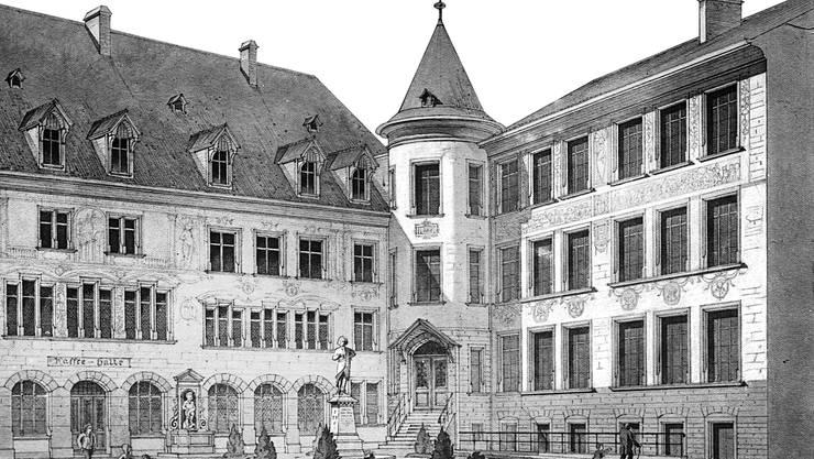 Die Lesegesellschaft gilt als Wiege der Casino-Gesellschaft und somit des Musiksaals. Sie wurde 1787 in der Schmiedezunft in Basel gegründet. Sie war einer der wenigen Orte, wo sich die aufgeklärte bürgerliche Gesellschaft der Stadt treffen konnte. Damals jedoch noch ohne Begleitung der Frauen. (Auf dem Bild zu sehen: Der Innenhof des Schmiedenhofs mit der Statue von Isaak Iselin )