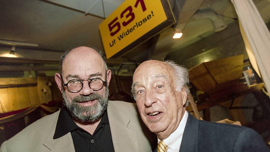 Heinrich von Grünigen (links) starb an Freitag. Das Bild entstand an der Gründungsparty der «Musigwälle» 1996. (Archivbild)