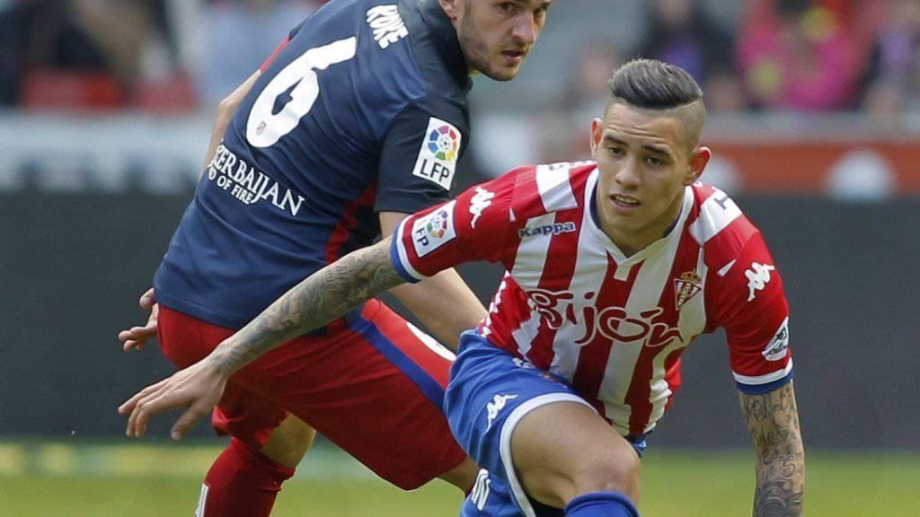 Atleticos Koke hatte gegen Sporting Gijon und Antonio Sabaria das Nachsehen