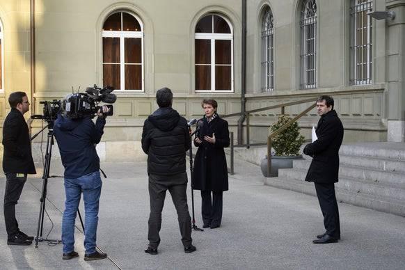 Bundespräsidentin Simonetta Sommaruga am 26. März. (Bild: Keystone/Archivbild)