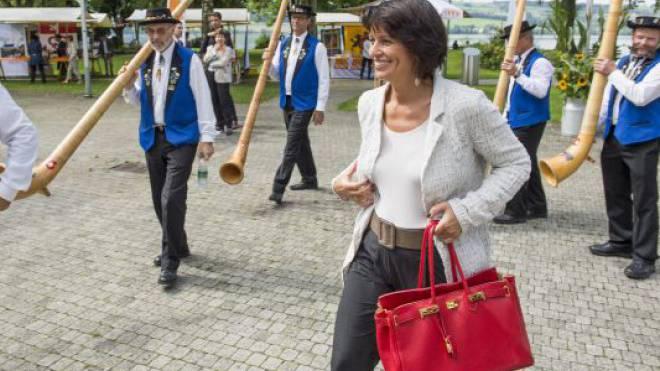 Bundesrätin Doris Leuthard am Sommerparteitag der CVP gestern in Sempach.  Foto: Keystone - Sigi Tischler