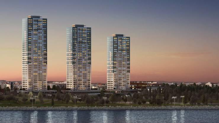 Bei klarer Sicht schieben sich diese drei Hochhäuser ins Blickfeld.