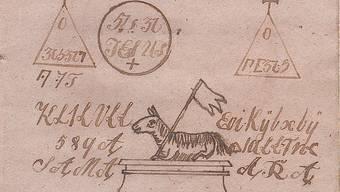 Zauberzeichen aus einem Heft, das erst vor wenigen Jahren auf dem Estrich eines Gontenschwiler Hauses gefunden wurde. Unter den Zeichen steht: «Diese Signa (= Zeichen) wird bei allen Operationen ja nicht weggelassen, sie muss auf der Brust getragen werden und wird auf Jungfer Pergament (= reines, zartes Pergament) geschrieben.» Die Aufzeichnungen stammen vermutlich aus der Zeit zwischen 1820 und 1840.