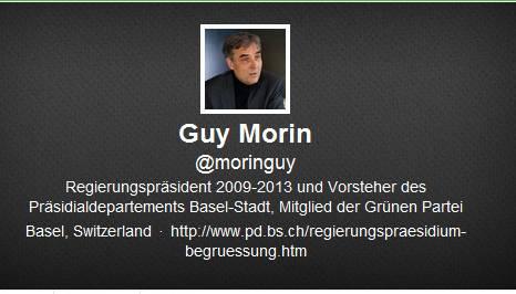 Er ist das einzige Basler Regierungsmitglied, das aktiv twittert. Guy Morins Account ist eng mit dem Facebook-Profil verknüpft. Fast alle Mitteilungen, die auf Facebook geteilt werden, landen auch in verkürzter Form auf Twitter. Morin selbst sagt, dass er  sich ungefähr zwei Mal pro Woche einloggt. Dadurch ist er nicht sonderlich aktiv. Trotzdem bemüht er sich, Twitter als Zweiwegmedium zu nutzen. Er antwortet auf Tweets, die an ihn gerichtet sind, folgt etwa 330 Personen. Morin hat nach aktuellem Stand 820 Follower.