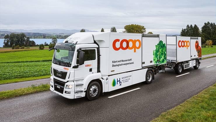Der Prototyp des Wasserstoff-Lastwagens, der eigens für Coop entwickelt wurde.