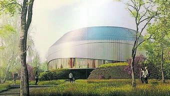 Der Pavillon soll künftig vor dem Novartis-Campus stehen.