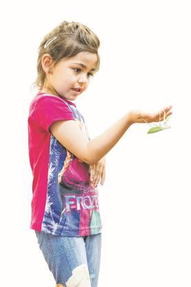 Melina aus Birmenstorf hält eine gemeine Gottesanbeterin (auch grüne Gottesanbeterin genannt) in der Hand.