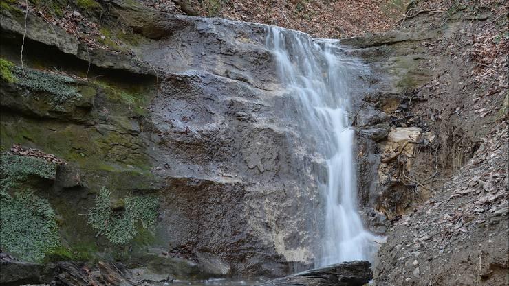 Stoffelbach-Wasserfall am Brüggliweg in Dietikon. Bild vom 29. Jan. 2018  16:17