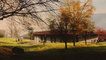 Die Visualisierung zeigt den geplanten Doppel-Kindergarten als Holzhaus mit einem weit heruntergezogenen Walmdach. Dieser soll westlich der bestehenden Schulanlagen zu stehen kommen. ZVG
