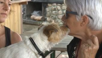 Elisabeth Gautschi bekommt ein Küsschen vom Hund ihrer Freundin Daniela (links). Weil sie nach dem Namen des Hundes fragte, flog die Betrügerin auf.