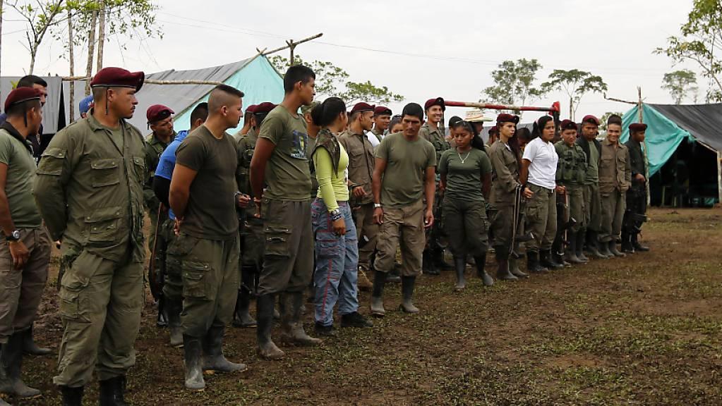 Mitglieder der linken Guerrillaorganisation Farc im Lager La Carmelita. Die Rebellen rekrutierten mehr als 18'000 Kinder. (Archivbild)