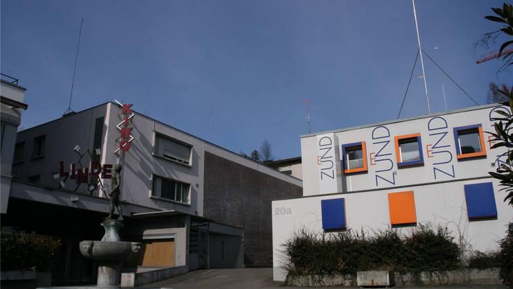 Das Kino Linde und der Gewerbebau heut.