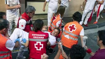 Die Stierhatz im nordspanischen Pamplona hat am Freitag fünf zum Teil Schwerverletzte gefordert.
