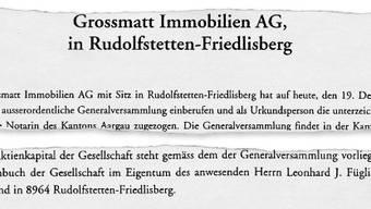 Besitzverhältnisse geklärt:  Das Protokoll der Generalversammlujng der Grossmatt Immobilien AG.