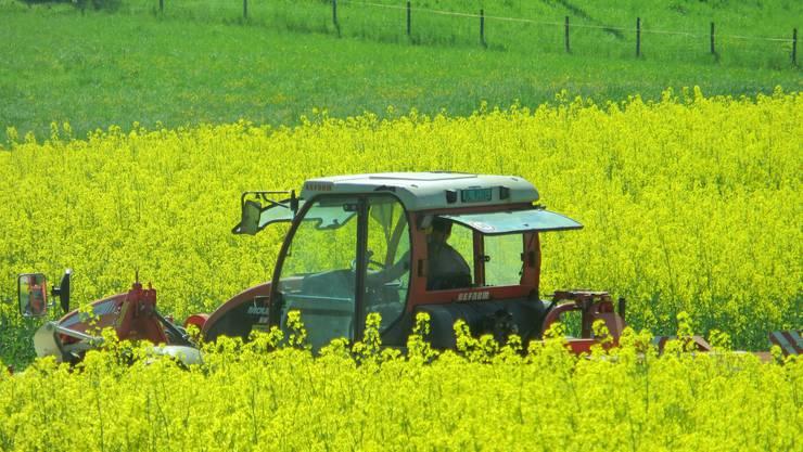 Einfach ein Bauer bei der Arbeit.