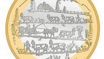 """Die Bildseite der Bimetallmünze """"Alpabzug"""" (Quelle: Swissmint)"""