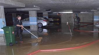 Eine nach den Überschwemmungen von letzter Woche ausgepumpte Tiefgarage in Frenkendorf.