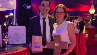 Sebastian und Manuela Graber vom «Restaurant zum Löwen» mit der Auszeichnung