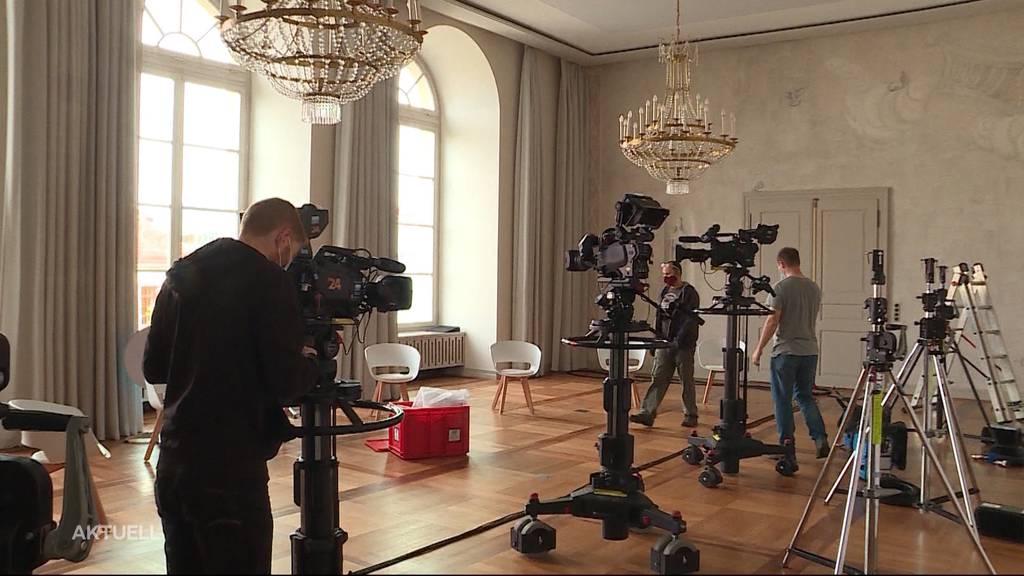 Tele-M1-Aufbau für die Aargauer Wahlen am 18. Oktober 2020