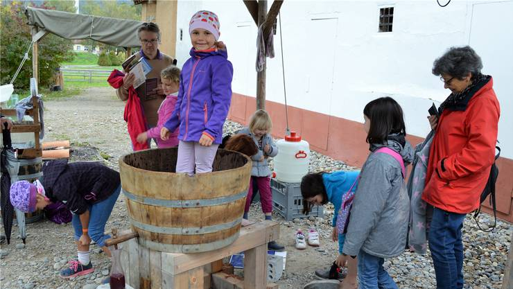 Bei der Weindegustation der Vindonissa-Winzer im letzten Jahr packten die kleinen Besucher tatkräftig mit an.