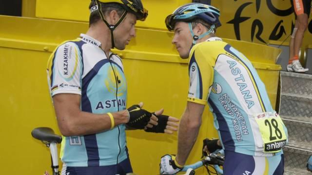 Lance Armstrong (links) und Gregory Rast waren schon bei Astana Teamkollegen