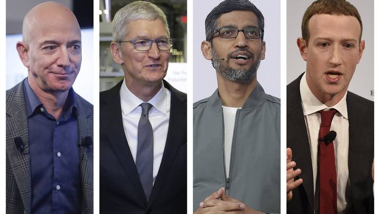 Die Chefs der grossen Technologiekonzerne müssen vor dem Ausschuss des US-Parlaments aussagen (von links nach rechts): Jeff Bezos (Amazon), Tim Cook (Apple), Sundar Pichai (Google) und Mark Zuckerberg (Facebook).