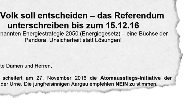 Ausriss aus dem Schreiben, das die Jungfreisinnigen Aargau an tausende Personen verschickt haben.