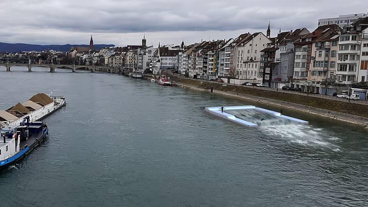 Surfen im Basler Rhein: Wer von der künstlichen Welle abgeworfen wird, verlässt die geplante Anlage schwimmend im Fluss, wie diese Visualisierung der Promotoren zeigt.