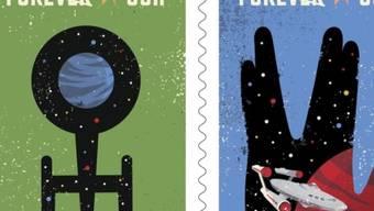 """Zwei der vier US-Sondermarken zum 50-Jahr-Jubiläum von """"Star Trek"""" (Handout Ausschnitt)."""
