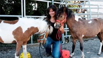 Maja Krüttli mit den Mini-Pferden Aponi und Grace. Rechnen können die beiden nicht. Aber den Kopf schütteln, wenn das Resultat falsch ist.